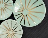 "Porcelain Ring Dish with Gold Burst Pattern - 4.5"""