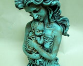 Figural Woman and Child Figurine Statue Verdigris Patina Upcycled
