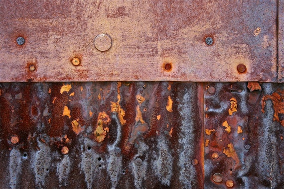 Abstract Fine Art Photography Industrial Rust Still Life Color - Ocean Meets Shore 8x12