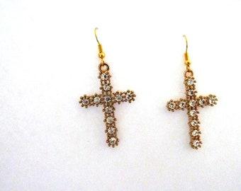 Rhinestone xl crosses, cross earrings, avant garde, rhinestone earrings, bling bling, contemporary jewellery, ear cuffs, glamurous, ooak