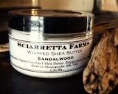 Sandalwood Shea Butter, Raw Whipped Shea Butter 4oz, Sandlewood Body Butter