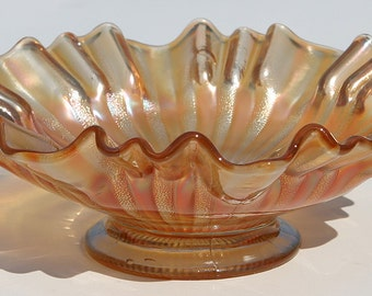 Antique rare Estate Coast of MAINE Northwood Large Carnival Glass Fine Fluted Edging Footed Serving Salad Bowl, Early Glass Bubbles