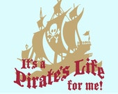 Pirate Ship Wall Decal - Kids Pirate Room Decor, Vinyl Wall Decal Decoration, Its a pirates life for me