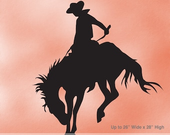 Cowboy Decor Vinyl Wall Decal, Bucking Bronco Rodeo Horse Decal, Western Decor, Animal Silhouette