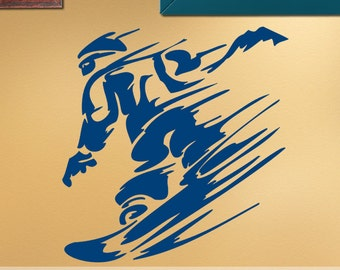 Extreme Sports Wall Decal: Downhill Snow Boarder on Mountain, Snowboarder, Snow Board ES029