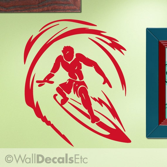 Wall Decal: Extreme Sports Surfer Dude Surfing, Riding an Ocean Wave ES003