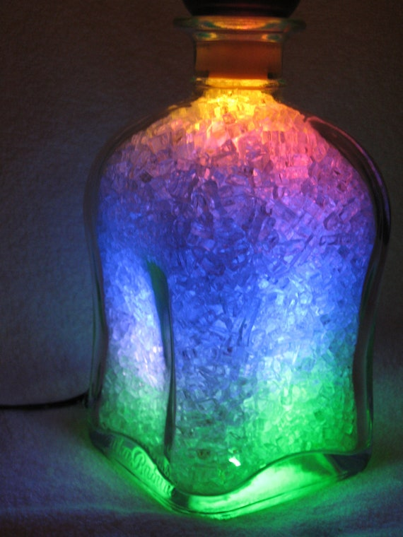 Classic wine bottle night lamp, LED night light, multicolor with slow color mixed
