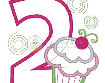 Cupcake Party Two -- Birthday Applique Machine Embroidery Design