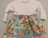 Baby Girls Long Sleeve Tshirt Dress 3-6 months - Turquoise, Pink, White Floral, Ruffles