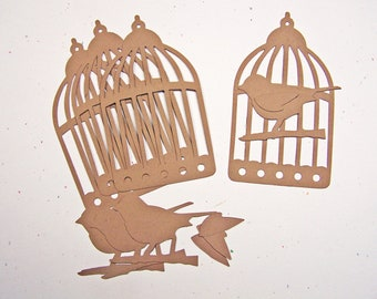 Tim Holtz Caged Bird Card Stock Set of 4