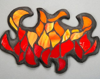 Stained Glass Mosaic Wall Art: Jigsaw Fire