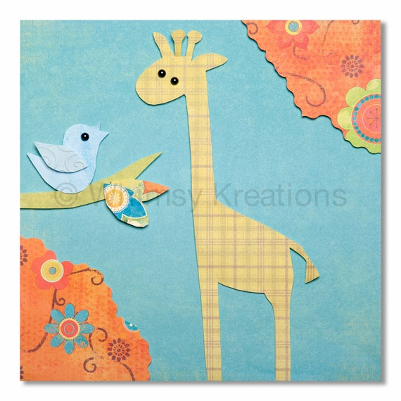 Giraffe and Bird Print - Whimsical Nursery Art, Children's Art