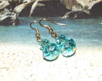 Earrings Handmade Aqua Blue Green Crystal Color of Ocean Sea Vibrant Sparkle Elegant Day to Evening Forest to Runway