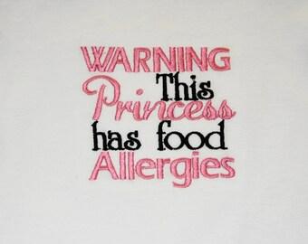 Princess food allergy shirt or one piece bodysuit
