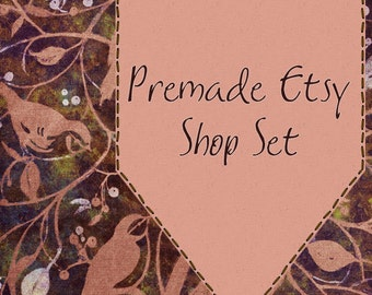 Premade Etsy Shop Image Set - Design 13 Brown and Purple Fabric Birds