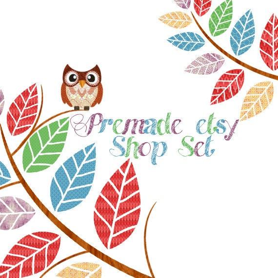 Premade Etsy Shop Banner Avatar Image Set - Autumn the Owl