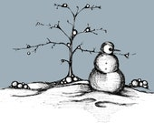 Snowman Illustration, Black and White Ink Drawing of Snowman, Blue Sky White Snow on Tree Poster, Frosty in Winter Wonderland Art Print
