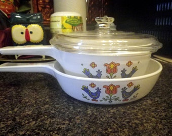 Corning Ware Menu-Ette Skillet with Lid Country Festival Pattern Vintage