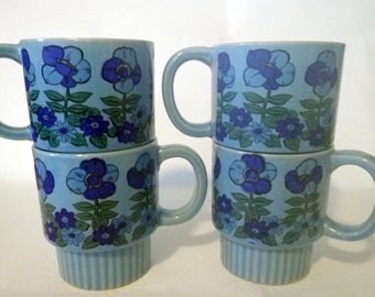 Blue Floral Stacking Mugs Vintage Funky Set of Four Stacking Coffee Cups Japan