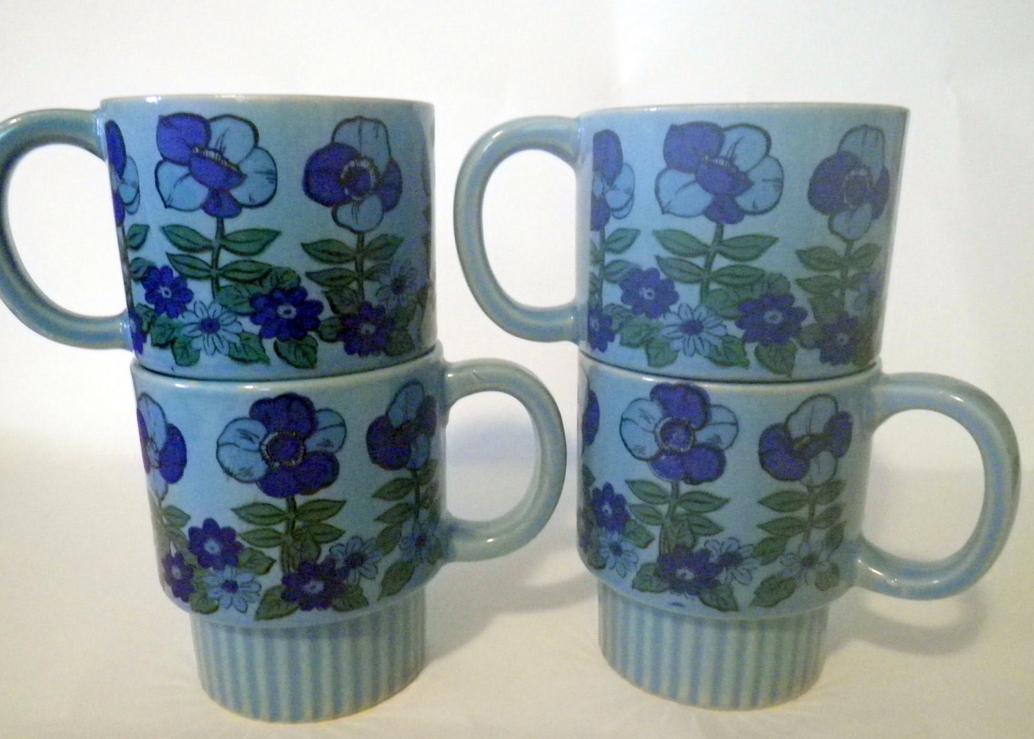 Blue floral stacking mugs vintage funky set of four groovy - Funky espresso cups ...