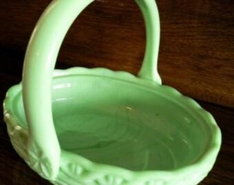 vintage Fenton art glass - Stunning Jadite Green WOVEN BASKET rare milk glass ...