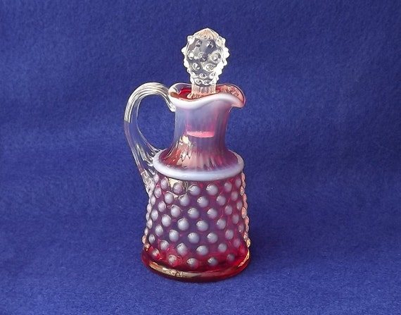 Fenton Hobnail Cruet Cranberry Opalescent Free Shipping Sale