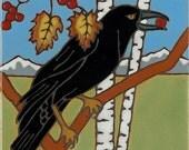 Raven, Crow, bird, hot plate, wall decor, bathroom mural, installation,kitchen backsplash, hand crafted, mosaic, hand painted in USA