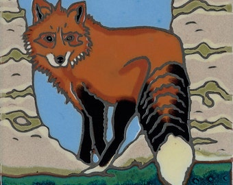 Handpainted tile Red Fox made in usa ceramic tile