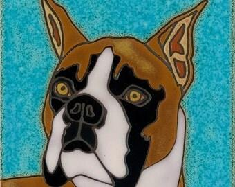 Hand Painted Ceramic Tile Dog Boxer Original Art