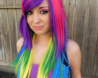 Tropical Breeze / Neon Rainbow / Long Straight Layered Wig Halloween Costumes, Adult Costume, Cosplay, Durable for daily use