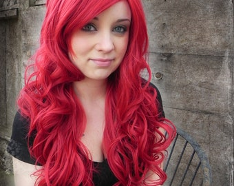 Cherry Red / Long Curly Layered Wig Mermaid Hair Lolita, Pin Up Cosplay, Sexy