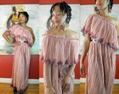Reserved for Sylvia OMBRE Vintage 1970s Pink Flutter Syle Maxi Dress Stripes Sz XL Fortuny Pleats