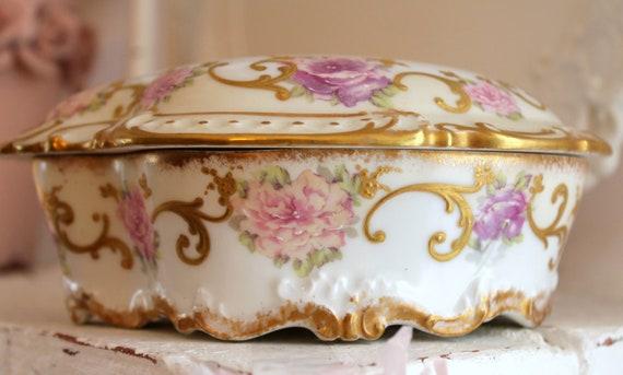Antique Limoges Porcelain Dresser Box...Trinket Box...Coiffe Porcelain Factory...France...1891 - 1914