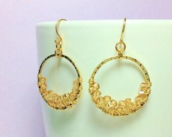 Beautiful Handmade Wire-wrapped Light Colorado Topaz Swarovski Crystal Gold Hoop Earrings