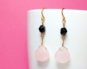 Beautiful Handmade Jet & Pink Stone Drops