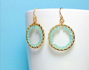 Beautiful Handmade Swarovski Crystal Hoop Earrings