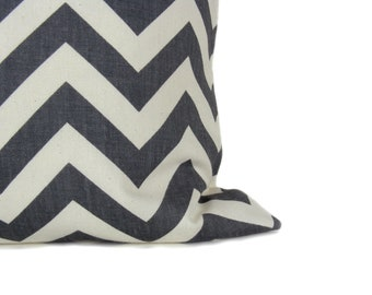 Chevron Pillow Gray Pillow Cover Dark Gray Pillow ONE 22x22 Decorative Throw Pillow Covers ZigZag Euro pillow coverPrinted fabric both sides