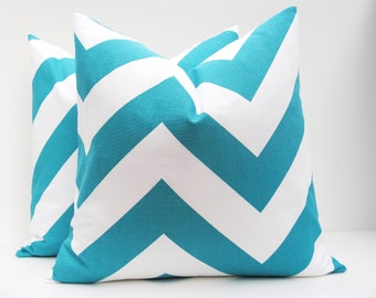 Decorative Throw Pillow Chevron Pillow turquoise pillow Blue Chevron Pillow Cover Set of TWO 16x16 Printed fabric both sides Aqua Blue