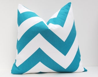 Turquoise Pillow. Chevron Pillow Cover Euro Pillow Sham.Turquoise. Pillow Sham. 22x22 decorative throw pillows.Printed Fabric both sides