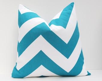Pillow .Chevron Pillow Cover Euro Pillow Sham.Turquoise. Euro Pillow Cover. 26x26 decorative throw pillows.Printed Fabric both sides