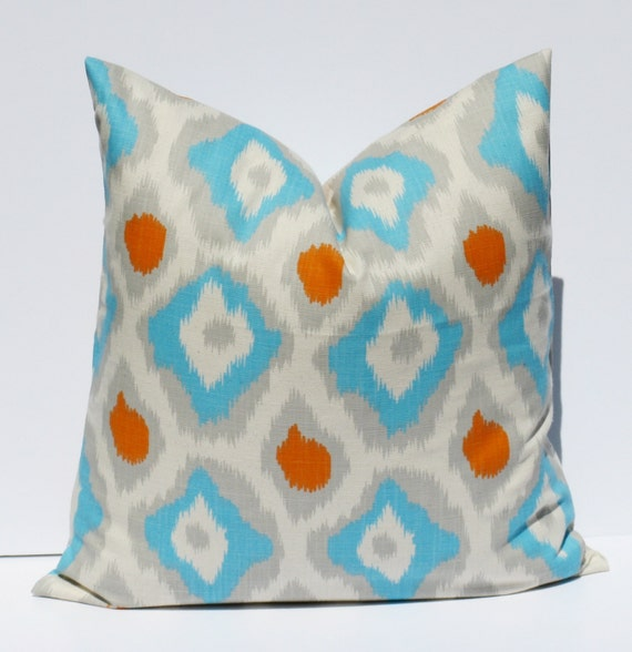 Decorative Pillows Blue And Orange : Items similar to Decorative Throw Pillows 20 x 20 Throw Pillow covers Orange Blue Pillow Printed ...