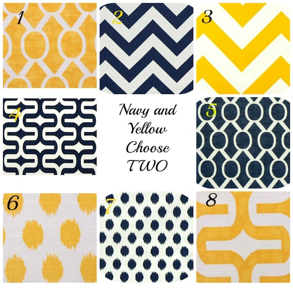 Items similar to Decorative Throw Pillows Chevron Pillow Navy and Yellow Throw Pillow Covers ...