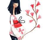 Japanese Mother Print Illustration Watercolor Pregnancy Maternity Baby