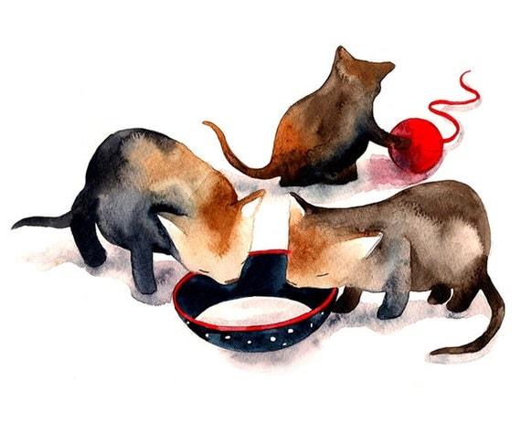 Kitty Cats Kitten Watercolor Illustration Print Home Decor Children Kids