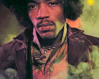 "Jimi Hendrix Painting on Giclee Canvas 16""x20"" with mat frame. Rock Music. Guitar"