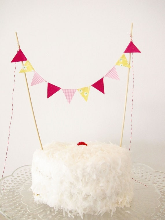 Fabric Cake Bunting Decoration - Cake Topper - Wedding, Birthday Party, Shower Decor in fuschia, yellow floral, and pink gingham