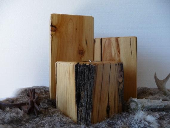 Rustic Western Juniper Wood Handcrafted Candle Holder Set Wedding Housewarming