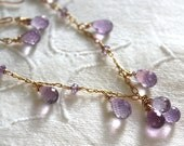 Lilac Amethyst Necklace- Purple - Teardrop Necklace - Handmade Gemstone Jewelry