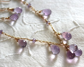 Gold Amethyst Necklace- Purple and Gold- Gemstone Cluster - Amethyst Drop Beads-Handmade Gemstone Jewelry