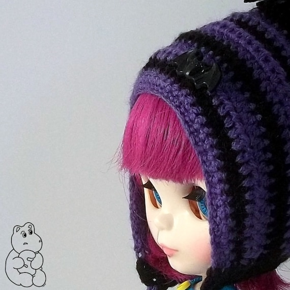 SALE Spooky Bat Pixie Bonnet - A Hat For Blythe FREE SHIPPING